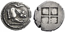Greek Coins   Macedonia, Acanthus  Tetrobol circa 490, AR 2.37 g. Forepart of lion r.; above, acanthus flower. Rev. Quadripartite incuse square. SNG A...