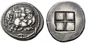Greek Coins   Macedonia, Acanthus  Tetradrachm circa 470-430, AR 17.02 g. Bull with head raised, crouching to l., attacked by lion leaping r. on its b...