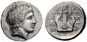 Greek Coins   The Chalcidian League, Olynthus  Tetradrachm circa 350, AR 14.47 g. Laureate head of Apollo r. Rev. X – A – Λ – KIΔ – EΩN Cythara with s...