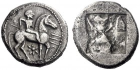 Greek Coins   Potidaea  Tetradrachm circa 500-480, AR 16.78 g. Poseidon Hippios, holding trident, on horse at pace to r.; beneath, seven-rayed star. R...