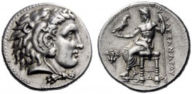 Greek Coins   Alexander III, 336 – 323  Tetradrachm Memphis circa 325, AR 17.17 g. Head of Heracles r., wearing lion's skin headdress. Rev. AΛEΞANΔΡOΥ...