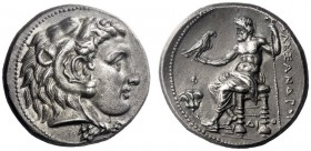 Greek Coins   Alexander III, 336 – 323  Tetradrachm Memphis circa 325, AR 17.23 g. Head of Heracles r., wearing lion's skin headdress. Rev. AΛEΞANΔΡOΥ...