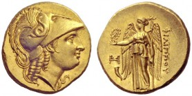 Greek Coins   Philip III Arridhaeus, 323 – 316  Stater, Abydus circa 323-316, AV 8.64 g. Head of Athena r., wearing crested Corinthian helmet decorate...