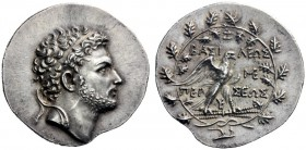 Greek Coins   Perseus, 178 – 168  Tetradrachm, Pella or Amphipolis 178-171, AR 16.88 g. Diademed head r., with short beard. Rev. BAΣI - ΛEΩΣ / ME / ΠE...