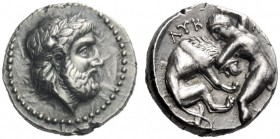 Greek Coins   Kings of Paeonia, Lycceius 356 – 355  Tetradrachm, Astibos or Damastion 356-355, AR 12.74 g. Laureate head of Zeus r. Rev. ΛYK – [EIOY] ...