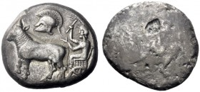 Greek Coins   The Derrones  Dodecadrachm circa 480, AR 38.66 g. Ox cart driven l. by male figure, holding goad in r. hand; above crested Corinthian he...