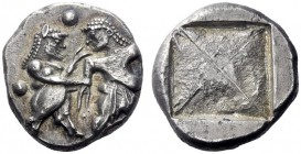 Greek Coins   Siris or Lete  Stater circa 520-485, AR 9.75 g. Nude ithyphallic satyr grasping r. arm of nymph, trying to move away from him; at sides ...