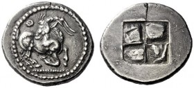Greek Coins   Mygdonians or Krestonians  Stater circa 485-480, AR 8.88 g. Goat kneeling r., head reverted; above, dotted Θ. Rev. Quadripartite incuse ...