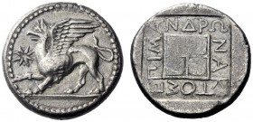 Greek Coins   Thrace, Abdera  Tetradrachm 473-448, AR 14.57 g. Griffin crouching l.; before, eight-rayed star. Rev. EΠIMA – NΔΡΩ – NAK – TOΣ within in...