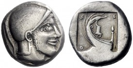 Greek Coins   Scione  Tetradrachm circa 475, AR 16.63 g. Helmeted head of Protesilaus r. Rev. Σ – K / I – O at corners of incuse square within which, ...