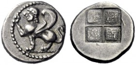 Greek Coins   Islands off Thrace, Samothrace  Hemidrachm. Circa 500-475, AR 1.94 g. Sphinx seated l., raising r. foreleg. Rev. Quadripartite incuse sq...
