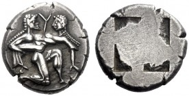 Greek Coins   Thasos  Stater circa 490, AR 9.87 g. Naked ithyphallic satyr supporting nymph under thighs with r. arm, the l. hand under her back. Rev....