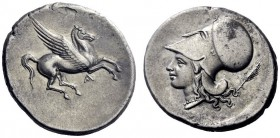 Greek Coins   Epirus, Ambracia  Corinthian stater circa 295, AR 8.79 g. Pegasus flying r.; beneath, A. Rev. Head of Athena l., wearing Corinthian helm...
