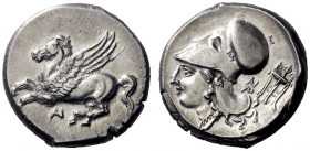 Greek Coins   Acarnania, Anactorium  Stater circa 350-300, AR 8.43 g. Pegasus flying l.; beneath, AN ligate. Rev. Head of Athena l., wearing Corinthia...