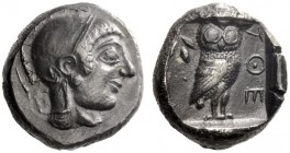 Greek Coins   Attica, Athens  Tetradrachm circa 546-527, AR 16.66 g. Head of Athena r., wearing Attic helmet. Rev. AΘE Owl standing r., head facing; b...