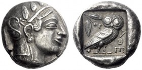 Greek Coins   Attica, Athens  Tetradrachm circa 455-450, AR 16.91 g. Head of Athena r., wearing Attic helmet. Rev. AΘE Owl standing r., head facing; b...