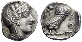 Greek Coins   Attica, Athens  Tetradrachm circa 420-404, AR 17.18 g. Head of Athena r., wearing Attic helmet. Rev. AΘE Owl standing r., head facing; b...