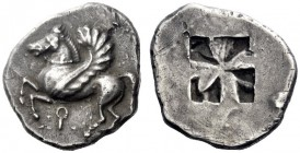 Greek Coins   Corinthia, Corinth  Stater circa 560, AR 8.38 g. Pegasus flying l.; below, qoppa. Rev. Mail sail pattern incuse. ACGC 220. Ravel 19 (thi...