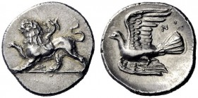 Greek Coins   Sycionia, Sycion  Triobol circa 330-320, AR 2.85 g. Chimera advancing l. Rev. Dove flying l.; above, NO. SNG Copenhagen 60. BCD Peloponn...