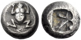 Greek Coins   The Cyclades, Seriphos  Stater circa 530, AR 11.03 g. Frog seen from above. Rev. Incuse square irregularly divided. Rosen 242 (these die...