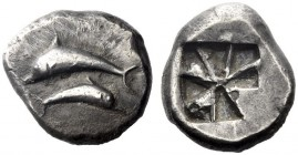 Greek Coins   Thera  Stater circa 525/520-500, AR 12.30 g. Two dolphins swimming in opposite directions. Rev. Incuse square divided into eight triangl...