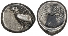 AKRAGAS: AR didrachm (8.83g), SNG ANS 937; HGC-2, 94, struck ca 495-480 BC, sea eagle standing left, AK(PA) // crab within round incuse, VF.