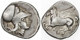 CORINTH: ca. 375-300 BC, AR stater (8.59g), head of Athena to left, wearing Corinthian helmet, letter N behind neckguard // Pegasus flying left, lovel...