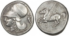 CORINTH: AR stater (8.56g), BCD Corinth-103; Pegasi-430, struck ca 345-307 BC, head of Athena left, wearing Corinthian helmet with laurel wreath, A be...
