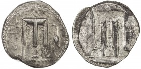 CROTON: AR nomos (7.85g), SNG ANS-272; HN Italy 2104, struck 480-430 BC, tripod with legs terminating in lion's feet, flanked by QPO and stork standin...