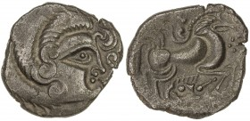 GAUL: Curiosolites, ca. 100-50 BC, BI stater (6.44g), Armorica, Celticized male head right, with hair in spiral curls // deconstructed biga right; orn...