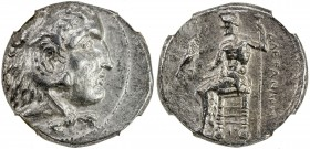 MACEDONIAN KINGDOM: Alexander III, the Great, 336-323 BC, AR tetradrachm, early posthumous issue: bust of Heracles in lion skin right // Zeus seated l...