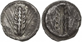 METAPONTUM: AR nomos (8.01g), SNG ANS-233; Noe-180, struck 510-470 BC, six-grained ear of barley, META on right, dotted border // incuse of obverse, a...