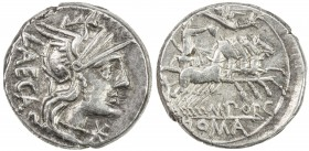 ROMAN REPUBLIC: M. Porcius Laeca, AR denarius (3.65g), Rome, Crawford-270/1; Sydenham-513, struck 125 BC, helmeted head of Roma right, LAECA behind, s...
