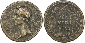 PADUAN & LATER IMITATIONS: ROMAN IMPERATORIAL: Julius Caesar, cast AE medal (27.61g), Lawrence-1; Klawans-1, Paduan medal after Giovanni Cavino; laure...