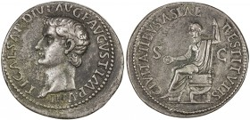 "PADUAN & LATER IMITATIONS: ROMAN EMPIRE: Tiberius, 14-37 AD, white metal cast ""sestertius"" (27.66g), Lawrence-5 (notes), 19th century imitation of bra..."