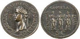 "PADUAN & LATER IMITATIONS: ROMAN EMPIRE: Caligula, 37-41 AD, AE cast ""sestertius"" (19.71g), Lawrence 9; Klawans-2, Paduan medal after Giovanni Cavino,..."