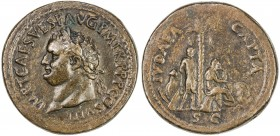 "PADUAN & LATER IMITATIONS: ROMAN EMPIRE: Titus, 79-81 AD, AE cast ""sestertius"" (28.32g), Lawrence-37; Klawans-3, Paduan medal after Giovanni Cavino, r..."