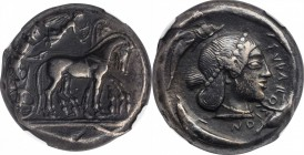 SICILY. Syracuse. Deinomenid Tyranny, 485-466 B.C. AR Tetradrachm (17.36 gms), struck under Hieron I, ca. 478-475 B.C. NGC Ch VF, Strike: 5/5 Surface:...