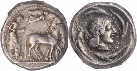 SICILY. Syracuse. Deinomenid Tyranny, 485-466 B.C. AR Tetradrachm (17.11 gms), struck under Hieron I, ca. 475-470 B.C. NGC Ch VF, Strike: 4/5 Surface:...