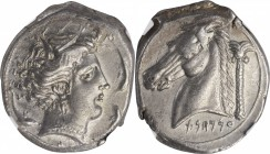 SICILY. Siculo-Punic. AR Tetradrachm (16.83 gms), ca. 320/15-300 B.C. NGC Ch EF, Strike: 4/5 Surface: 5/5. Fine Style.