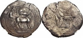 MACEDON. Macedonian Tribes. The Derrones. AR Dodekadrachm (34.94 gms), ca. 480-465 B.C. NGC EF, Strike: 3/5 Surface: 3/5. Horn Silver.
