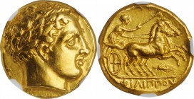 MACEDON. Kingdom of Macedon. Time of Philip II to Alexander III (the Great), 359-323 B.C. AV Stater (8.59 gms), Amphipolis Mint, ca. 340/36-328 B.C. N...