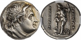 MACEDON. Kingdom of Macedon. Demetrios Poliorketes, 306-283 B.C. AR Tetradrachm (16.99 gms), Thebes Mint, ca. 289-287 B.C. NGC Ch EF, Strike: 5/5 Surf...