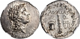 MACEDON. Under the Romans. AR Tetradrachm (17.01 gms), Uncertain Mint, Aesillas (Quaestor, ca. 95-70 B.C.). NGC MS★, Strike: 5/5 Surface: 5/5.