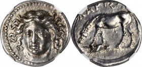 THESSALY. Larissa. AR Drachm (6.00 gms), ca. 400-370 B.C. NGC Ch AU★, Strike: 5/5 Surface: 5/5.