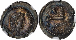 MAURETANIA. Kingdom of Mauretania. Juba II, 25 B.C.- A.D. 24. AR Denarius (2.81 gms), Caesarea Mint, Dated RY 42 (A.D. 17). NGC MS★, Strike: 5/5 Surfa...