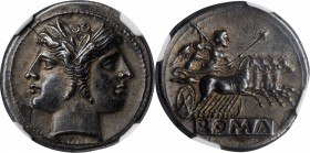 ROMAN REPUBLIC. Anonymous. AR Quadrigatus (6.63 gms), Uncertain Mint, ca. 225-214 B.C. NGC Ch EF, Strike: 5/5 Surface: 4/5. Fine Style.