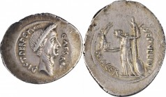 JULIUS CAESAR. AR Denarius (3.98 gms), Rome Mint, P. Sepullius Macer, moneyer, 44 B.C. ALMOST UNCIRCULATED.