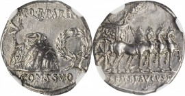 AUGUSTUS, 27 B.C.- A.D. 14. AR Denarius (3.58 gms), Uncertain Mint in Spain, possibly Colonia Patricia, ca. 18 B.C. NGC Ch AU, Strike: 5/5 Surface: 3/...