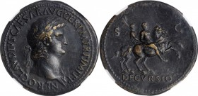 NERO, A.D. 54-68. AE Sestertius (27.53 gms), Rome Mint, ca. A.D. 64-66. NGC Ch EF, Strike: 5/5 Surface: 2/5. Fine Style. Smoothing.